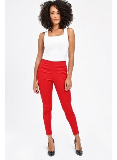 Jument Ön Arka Dikişli Dar Paça Tayt Pantolon - Beyaz Kırmızı